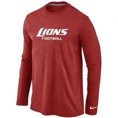 18312d48b Nike Detroit Lions Authentic Font Long Sleeve T-Shirt Red  Emillia Kelly  College Shirts