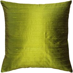Sankara Chartreuse Green Silk Throw Pillow 20x20
