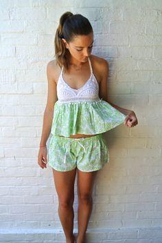 SALE - Bella Crochet Pajama Set - Lime Coral