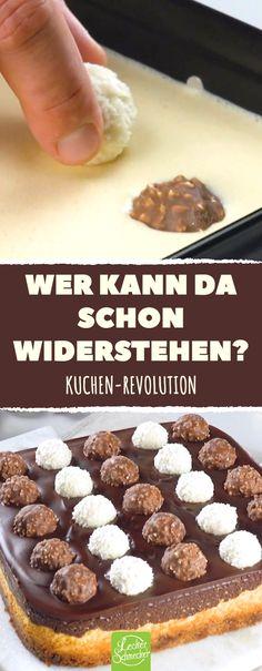 Wer kann da schon widerstehen? Exquisiter Käsekuchen mit Ferrero Rocher und Raffaello. #Ferrero #Rocher #Raffaello #Käsekuchen #Kuchen #Rezept