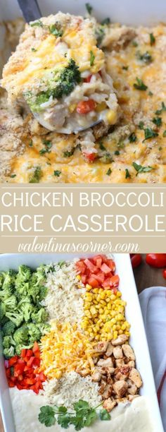 Quick and easy Chicken Broccoli Rice casserole. A one-pan dish with corn, peppers and cheese. Quick and easy Chicken Broccoli Rice casserole. A one-pan dish with corn, peppers and cheese. Easy Baked Chicken, Easy Chicken Recipes, Easy Recipes, Cheap Recipes, Creamy Chicken, Shrimp Recipes, Vegan Recipes, Corn Recipes, Dinner Recipes