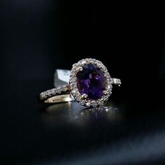 Natural Diamond Amethyst Ring Oval Round Cut 1.48 ct Solid 14k Yellow Gold #GDD #AmethystDiamond