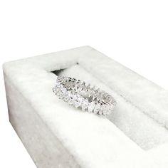 Band Princess White Topaz Diamonique White Gold Filled Wedding Ring Size 5-8 #Unbranded #Cocktail #Anniversarywedding