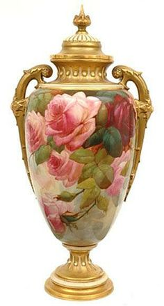 Hand Painted Rose Vase.
