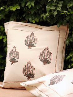 Cream Block Printed Cotton Cushion Covers - Set Of 2