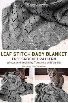 Leaf Stitch Baby Blanket Free Crochet Pattern For Beginners - Knit And Crochet D. Leaf Stitch Baby Blanket Free Crochet Pattern For Beginners – Knit And Crochet Daily pat Knitting For Beginners, Easy Knitting, Knitting Patterns, Start Knitting, Free Crochet Patterns For Beginners, Knitting And Crocheting, Free Crochet Blanket Patterns Easy, Crochet For Beginners Blanket, Beginner Crochet