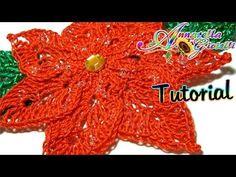 Stella Di Natale all'Uncinetto - Tutorial gratis su Youtube How to crochet a poinsettia - Tutorial free on Youtube