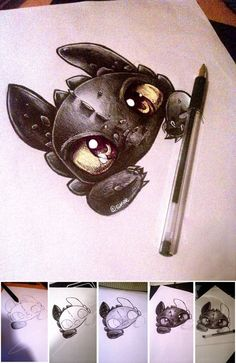 Pop art drawings doodles awesome New ideas Kawaii Drawings, Disney Drawings, Cute Drawings, Animal Drawings, Drawing Sketches, Drawing Step, Drawing Ideas, How To Train Dragon, Amazing Drawings