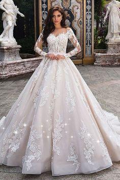 Fabulous Tulle Sheer Bateau Neckline See-through Bodice A-line Wedding Dress With Lace Appliques & Beadings & Belt #laceweddingdresses