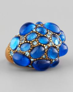Pave Cabochon & Crystal Ring, Blue by Oscar de la Renta at Neiman Marcus.