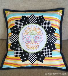 Stitched Sugar Skull Cushion (Pillow) #Embroidery #Perle8