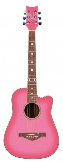 Wildwood Acoustic Short Scale - Pink Burst (left-handed also available) • • • $189.95 • • • The Wildwood Acoustic is a short scale instrument designed specifically for younger girls with smaller frames, and for older girls looking for a 3/4 size or easily portable guitar. This beautiful guitar is lightweight, it sounds great, and because it's designed to perfectly fit girls, it's extremely comfortable to hold and to play! • • • Daisy Rock Girl Guitars® and DRG®