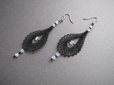 Tatting Earrings, Lace Earrings, Lace Jewelry, Bridal Earrings, Crochet Earrings, Jewellery, Types Of Lace, Bobbin Lace Patterns, Lacemaking