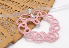 Tatting heart necklace Sweet heart   tatting lace by MadeByRevi, $12.00