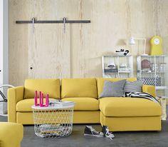 IKEA Wohnizimmer Inspiration, VIMLE Sofa Orrsta goldgelb