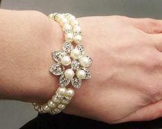 Mini Flower Style Pearl Bridal Bracelet, Alyson Mini Rustic Wedding Jewelry, Wedding Accessories, Hair Accessories, Pearl Bridal, Bridal Bracelet, Wedding Earrings, Flower Fashion, Luxury Wedding, Headbands