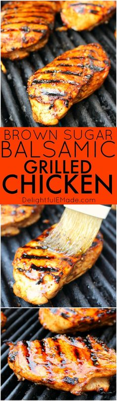 Brown Sugar Balsamic Grilled Chicken This super simple balsamic grilled chicken will be your new favorite dinner idea! Made with a brown sugar marinade, this grilled chicken recipe is done and on the table in under 20 minutes! Balsamic Chicken Marinades, Balsamic Grilled Chicken, Chicken Marinade Recipes, Easy Chicken Recipes, Balsamic Onions, Balsamic Glaze, Balsamic Marinade, Grilled Meat, Quick Recipes