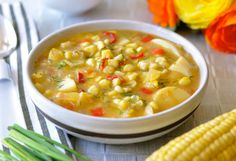 ... delicious combination of corn, golden potatoes, red pepper and dill