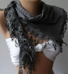 Grey  Elegance Shawl / Scarf with Lace Edge by womann on Etsy, $16.00