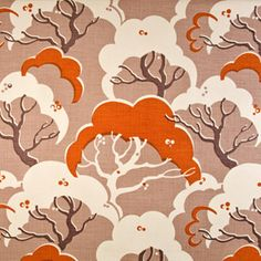 Cloud Bay by Rapture & Wright: A chic design of stylised clouds and trees inspired in part by an Edward Bawden lino cut. Colorway: Burnt Orange
