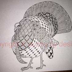 Turkey template and I think the last bird, until another one becomes available! #dubbybydesign #zentangle #zentangleinspiredart #turkey #benkwok #ornationcreation #inkdrawing #zendoodle #doodle