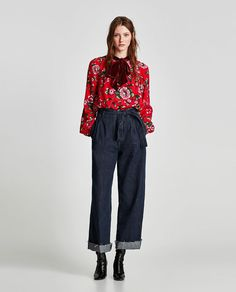 ZARA - TRF - PRINTED TOP WITH BOW