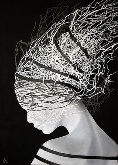 Anna Raczka - I lied Black White Art, Black Canvas, Oil On Canvas, Canvas Size, Painting & Drawing, Surrealism, Anna, Saatchi Art, Original Paintings