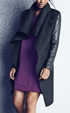 This dramatic wool blend coat with leather sleeves is the  epitome of chic. Must have for fall.