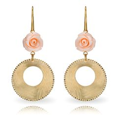 Pink Coral Roses Dangle Earrings in 14k Gold from Italy only $995.00 - Coral Jewelry