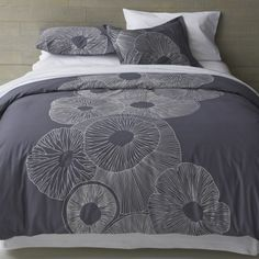 Marimekko Valmuska Slate Full-Queen Duvet Cover  | Crate & Barrel. I love this for our bedroom that I want to do in shades of grey :)