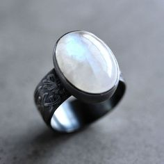 Moonstone Ring, Snow White Rainbow Moonstone Wide Band Oxidized Sterling Silver Ring Moonstone Jewelry  - Magick - Size 7