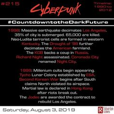 Day 215 Continuing on with the alternate timeline of the dark future. Millenniums end. #rtalsoriangames #cyberpunk #cyberpunk2020…