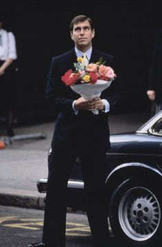 British Monarchy--HRH Prince Andrew, Duke of York arrives with flowers after the birth of his first daughter, HRH Princess Beatrice, London, 1988 Sarah Duchess Of York, Duke And Duchess, Duchess Of Cambridge, Windsor, Princess Eugenie And Beatrice, Eugenie Of York, English Royal Family, Elisabeth Ii, Queen Elizabeth