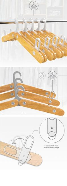 Instead of playing Where's Waldo with your empty clothes hangers, the Point Hanger makes finding free ones easy. Once an item has been removed from the hanger, a small weighted signal embedded in the wood structure automatically lifts above the hanger line making it simple to spot hidden ones! #YankoDesign #Living #Hanger