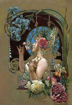 Art Nouveau print - looks like Alphonse Mucha Art Nouveau Mucha, Alphonse Mucha Art, Art Nouveau Poster, Art Nouveau Design, Poster Art, Jugendstil Design, Art Nouveau Illustration, Arte Floral, Oeuvre D'art