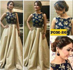 Hina Khan& contemporary outfit is major wedding season inspiration! Indian Gowns Dresses, Pakistani Dresses, Evening Dresses, Prom Dresses, Bollywood Dress, Party Wear Indian Dresses, Peplum Dresses, Brocade Dresses, Taffeta Dress