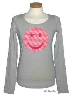 Langarmshirt, grau, smiley - GlamCity- Shop