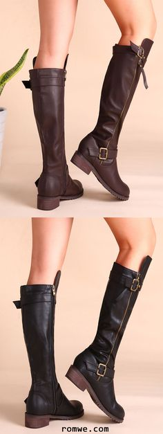 PU Buckled Strap Side Zipper Knee Boots