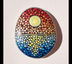 Gartendekoration - Sonnenuntergang Punkt Art bemalter Stein - ein Designerstück von CreateAndCherish bei DaWanda