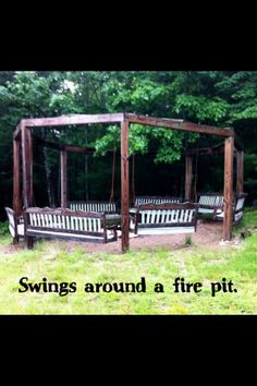 Swings around a fire pit!