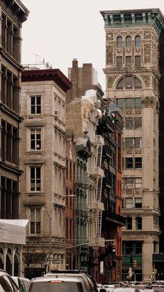 "wanderingnewyork: ""Buildings in Soho, Manhattan. Building Aesthetic, City Aesthetic, Brown Aesthetic, Travel Aesthetic, New York Life, Nyc Life, City Vibe, Living In New York, Concrete Jungle"