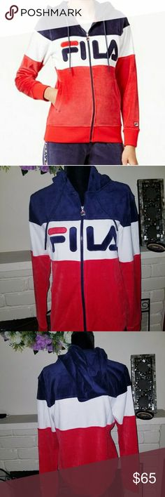 Fila Women Sandy Velour Jacket Size L Fila Sandy Velour Jacket is comfortable yet stylish jacket.  The jacket features a plush red ,white and blue velour construction, slim fit , drawstring  hood  and big FILA logo across the chest.  80% Coton , 20% Polyester.  SIZE L , Brand New With tag . Home smoke & pet free . Fila Jackets & Coats