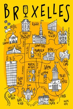 Carte postale de Bruxelles, série BXL Buildings. Maps Design, Belgium Map, My Adventure Book, Map Projects, Tourist Map, Road Trip Essentials, Voyage Europe, Brussels Belgium, Travel Illustration