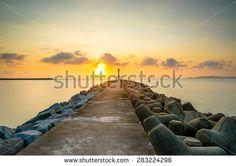 Sunrise at Pantai Rhu Renggeh, Kuala Terengganu - stock photo