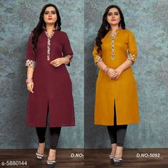 Kurtis & Kurtas Women's Solid Cotton Kurti Sleeve Length: Three-Quarter Sleeves Pattern: Solid Combo of: Single Sizes: M (Bust Size: 38 in Size Length: 46 in) Country of Origin: India Sizes Available: M, L, XL, XXL, XXXL, 4XL, 5XL, 6XL   Catalog Rating: ★4 (428)  Catalog Name: Women Cotton Front Slit Solid Kurti CatalogID_887857 C74-SC1001 Code: 305-5880144-8031