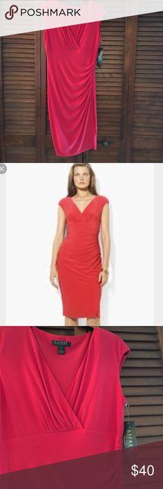 NWT RALPH LAUREN RED CAPSLEEVE FAUX WRAP DRESS NWT BRAND NEW Ralph Lauren Dresses Midi
