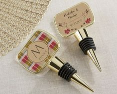 Personalized Fall Gold Epoxy Dome Wine Bottle Stopper Wedding Favors, Plaid Favors