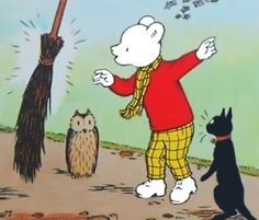 Rupert Bear, Tabitha Cat, owl and the Magic broom