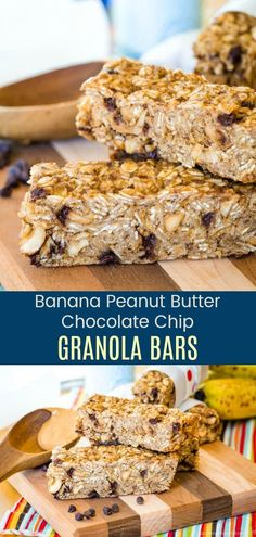 Banana Peanut Butter Chocolate Chip Granola Bar Recipe - nobody can resist this all-time favorite combination of flavors. Enjoy them as a healthy breakfast or snack, or pack in a kids school lunch. Easy to make, only 9 ingredients, and gluten free. Granola Bars Peanut Butter, Chocolate Chip Granola Bars, Healthy Granola Bars, Chocolate Chip Banana Bread, Peanut Butter Banana, Chocolate Peanut Butter, Gluten Free Bars, Easy Gluten Free Desserts, Dairy Free