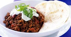 Flour tortillas are the perfect accompaniment to this hearty chilli con carne.